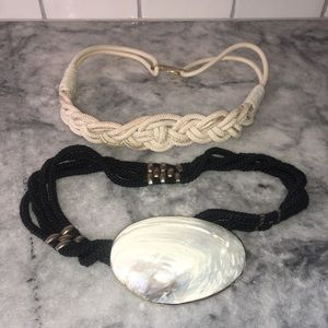 Accessories - 3/$20 Lot of 2 Vintage Belts: Braided Shell Design
